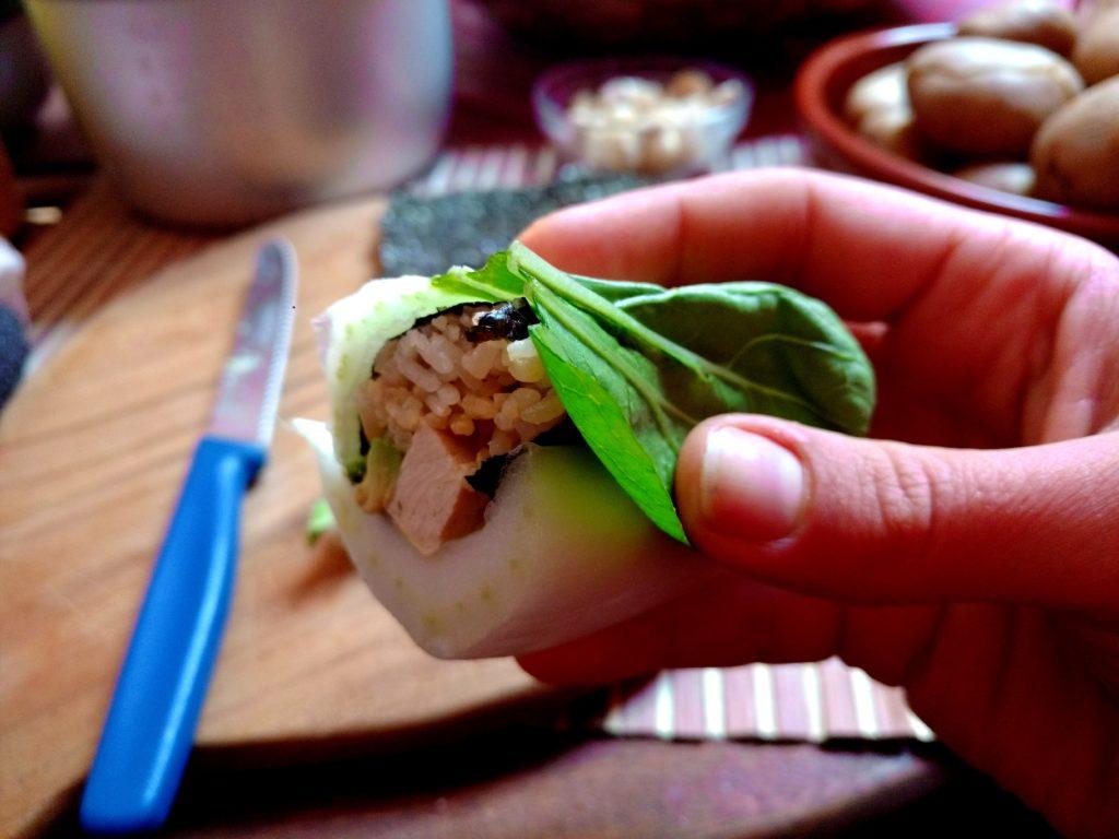 Pak Choi inside out Sushi