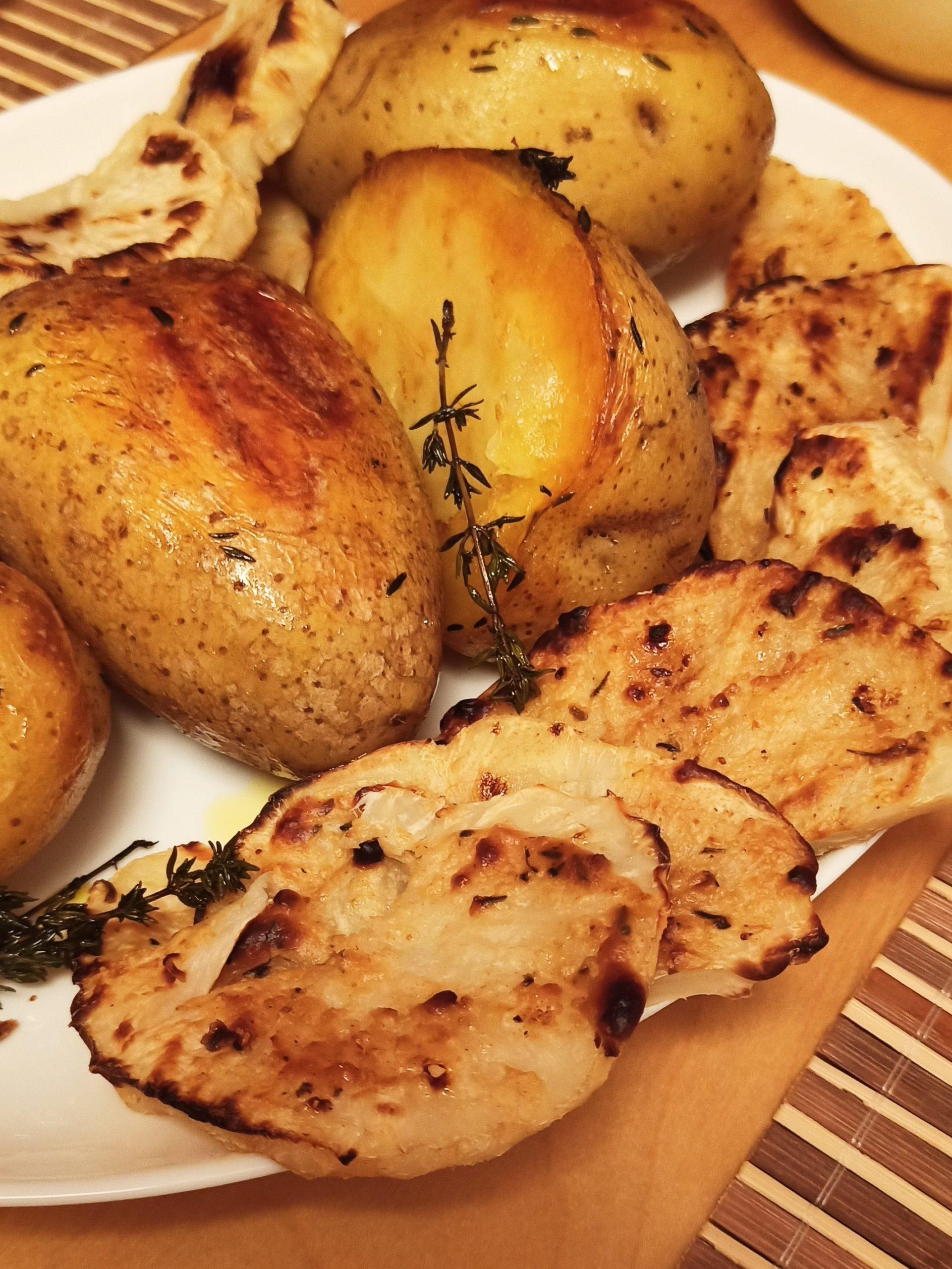 Ofenkartoffel mit geröstetem Sellerie und Thymian